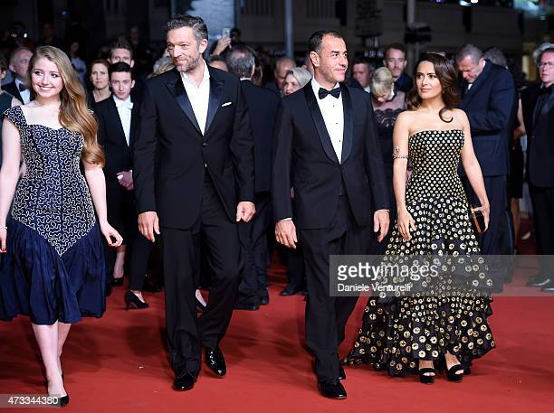 Bebe Cave Vincent Cassel Matteo Garrone and Salma Hayek attends the Il Racconto Dei Racconti Premiere during the 68th annual Cannes Film Festival on...
