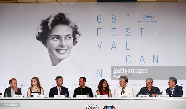 Bebe Cave Vincent Cassel Matteo Garrone Salma Hayek John C Reilly Jeremy Thomas and Paolo Del Brocco attend the press conference for Il Racconto Dei...