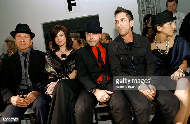Bebe founder Manny Mashouf Neda Mashouf Fashion Glue's Marco Innocenti and COO of Smashbox Davis Factor in the front row at the Veronika Jeanvie Fall...
