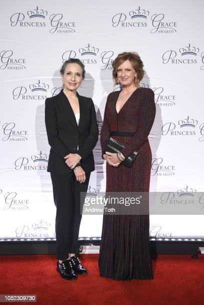 Bebe Neuwirth and Anne Sweeney attend the 2018 Princess Grace Awards Gala at Cipriani 25 Broadway on October 16 2018 in New York City