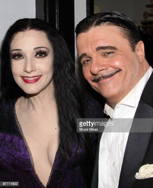 Bebe Neuwirth and Nathan Lane as Morticia Addams and Gomez Addams pose backstage at the hit new musical The Addams Family on Broadway at The...