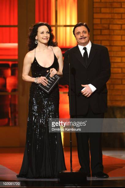 Bebe Neuwirth and Nathan Lane speak onstage during the 64th Annual Tony Awards at Radio City Music Hall on June 13 2010 in New York City