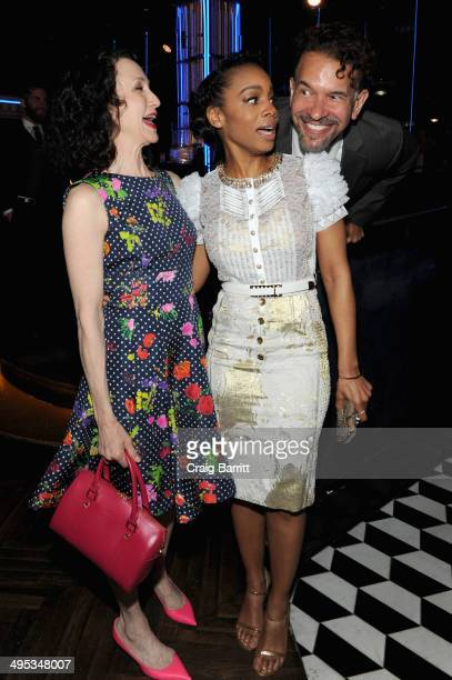 Bebe Neuwirth Anika Noni Rose and Brian Stokes Mitchell attend the 2014 Tony Honors Cocktail Party at the Paramount Hotel on June 2 2014 in New York...