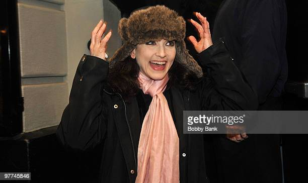 Bebe Neuwirth exits the stage doors of The Addams Family at the LuntFontanne Theatre in Manhattan on March 15 2010 in New York City