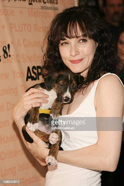 Bebe Neuwirth with dog Fontina during Broadway Barks 8 at Shubert Alley in New York NY United States