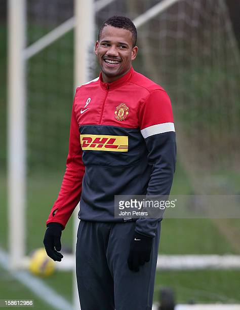 Bebe of Manchester United in action during a first team training session at Carrington Training Ground on December 21 2012 in Manchester England