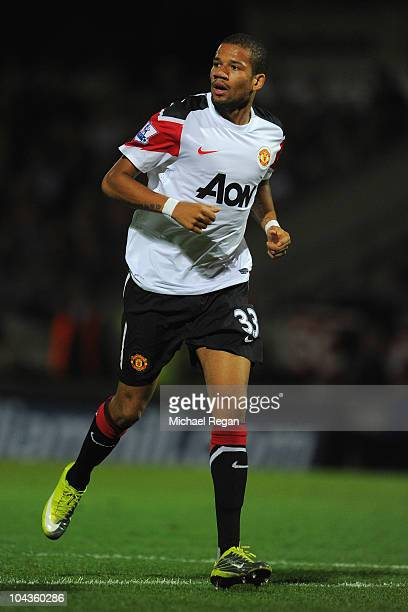 Bebe of Manchester United in action during the Carling Cup 3rd Round match between Scunthorpe United and Manchester United at Glanford Park on...