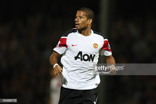 Bebe of Manchester United in action during the Carling Cup Third Round match between Scunthorpe United and Manchester United at Glanford Park on...