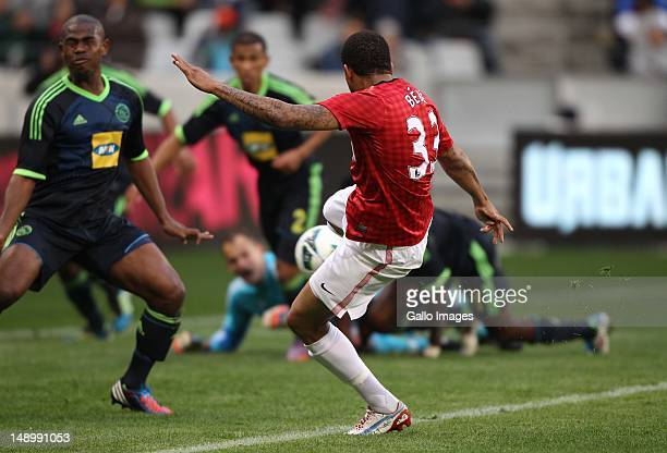 Bebe of Manchester United scores a goal during the MTN Football Invitational match between Ajax Cape Town and Manchester United at Cape Town Stadium...