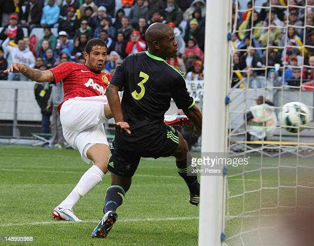 Bebe of Manchester United scores their first goal during the preseason friendly match between Ajax Cape Town and Manchester United on July 21 2012 in...