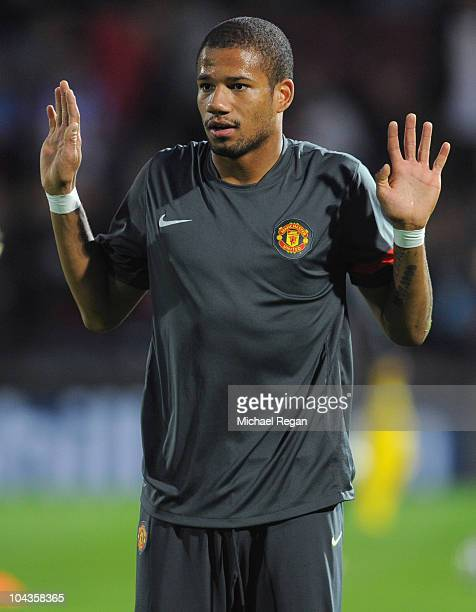 Bebe of Manchester United warms up before the Carling Cup 3rd Round match between Scunthorpe United and Manchester United at Glanford Park on...