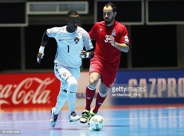 Bebe of Portugal controls the ball during the FIFA Futsal World Cup QuarterFinal match between Azerbaijan and Portugal at the Coliseo el Pueblo...