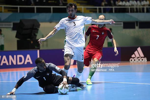 Bebe of Portugal saves from Ahmad Esmaeilpour of Iran during the FIFA Futsal World Cup Third Place play off match between Iran and Portugal at the...