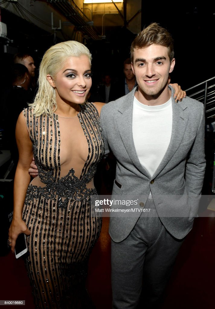 Bebe Rexha (L) and Andrew Taggart of The Chainsmokers backstage during the 2017 MTV Video Music Awards at The Forum on August 27, 2017 in Inglewood, California.