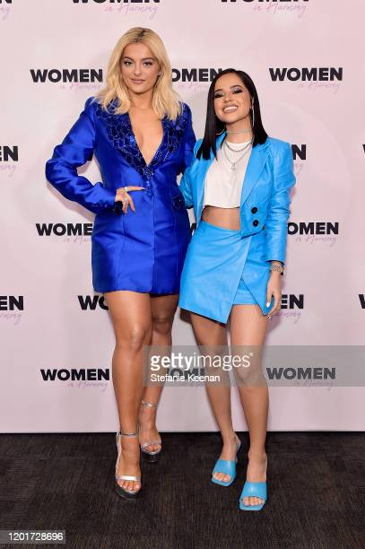 Bebe Rexha and Becky G attend the 3rd Annual Women in Harmony PreGrammy Luncheon with Host Bebe Rexha on January 24 2020 in Los Angeles California
