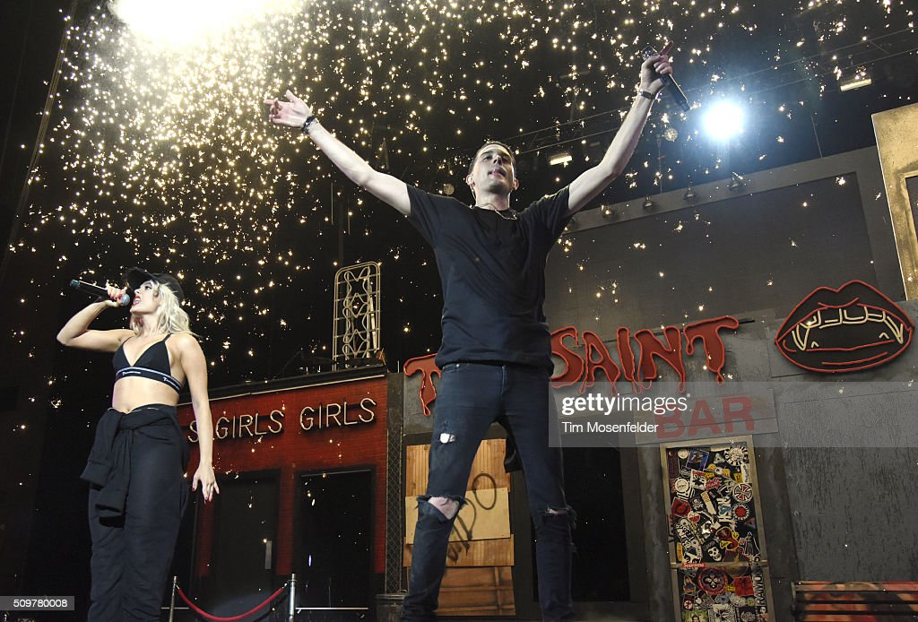 Bebe Rexha (L) and G-Eazy perform during the closing night of the 'When It's Dark Out Tour' at Bill Graham Civic Auditorium on February 11, 2016 in San Francisco, California.