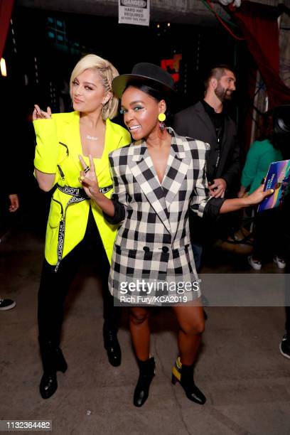 Bebe Rexha and Janelle Monáe attend Nickelodeon's 2019 Kids' Choice Awards at Galen Center on March 23 2019 in Los Angeles California