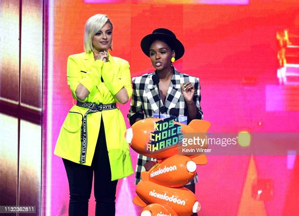 Bebe Rexha and Janelle Monáe speak onstage at Nickelodeon's 2019 Kids' Choice Awards at Galen Center on March 23 2019 in Los Angeles California
