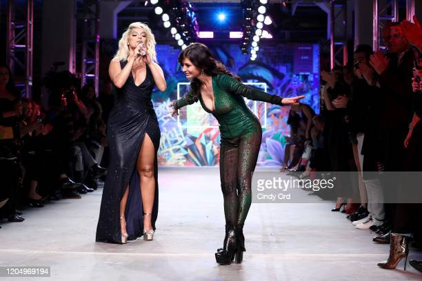 Bebe Rexha and Julia Haart perform on the runway for e1972 during New York Fashion Week on February 08 2020 in New York City