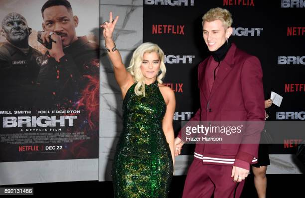 Bebe Rexha and Machine Gun Kelly arrive at the Premiere Of Netflix's 'Bright' at Regency Village Theatre on December 13 2017 in Westwood California