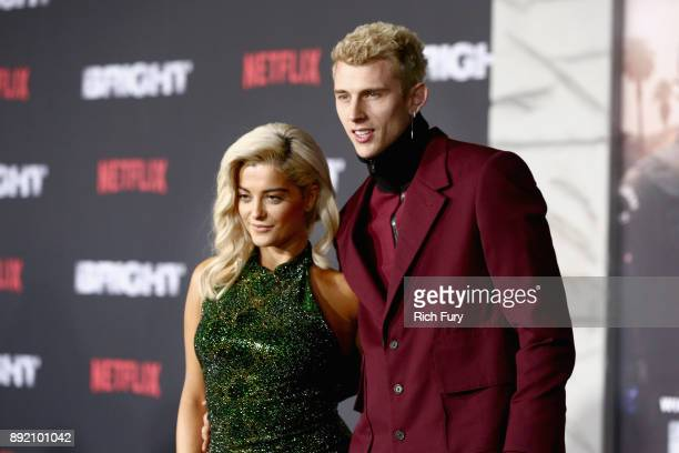 Bebe Rexha and Machine Gun Kelly attend the LA Premiere of Netflix Films 'BRIGHT' on December 13 2017 in Los Angeles California