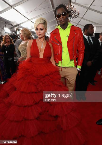 Bebe Rexha and Young Thug attend the 61st Annual GRAMMY Awards at Staples Center on February 10 2019 in Los Angeles California