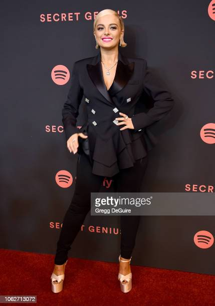 Bebe Rexha arrives at Spotify's 2nd Annual Secret Genius Awards at The Theatre at Ace Hotel on November 16 2018 in Los Angeles California