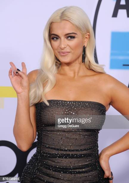 Bebe Rexha arrives at the 2017 American Music Awards at Microsoft Theater on November 19 2017 in Los Angeles California