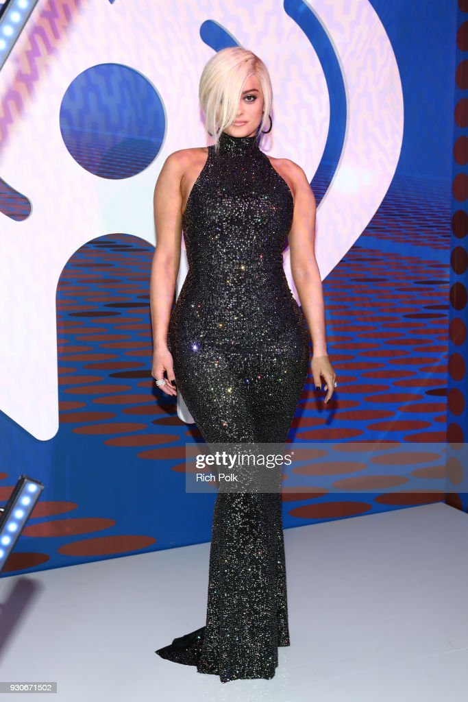 Bebe Rexha arrives at the 2018 iHeartRadio Music Awards which broadcasted live on TBS, TNT, and truTV at The Forum on March 11, 2018 in Inglewood, California.