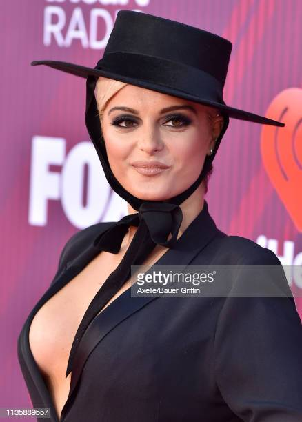 Bebe Rexha arrives at the 2019 iHeartRadio Music Awards which broadcasted live on FOX at Microsoft Theater on March 14 2019 in Los Angeles California