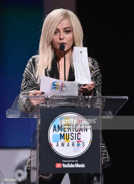 Bebe Rexha attends the 2018 American Music Awards Nominations Announcement at YouTube Space LA on September 12 2018 in Los Angeles California