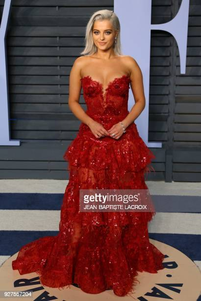 Bebe Rexha attends the 2018 Vanity Fair Oscar Party following the 90th Academy Awards at The Wallis Annenberg Center for the Performing Arts in...