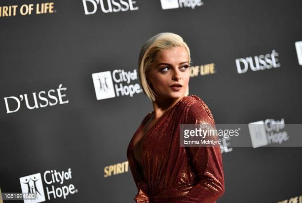 Bebe Rexha attends the City of Hope Spirit of Life Gala 2018 at Barker Hangar on October 11 2018 in Santa Monica California