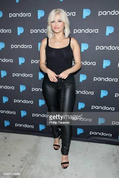 Bebe Rexha attends the Pandora Presents: Pop Coast Hits Featuring Meghan Trainor, Bebe Rexha, Why Don't We, And Madison Beer at City Market Social...