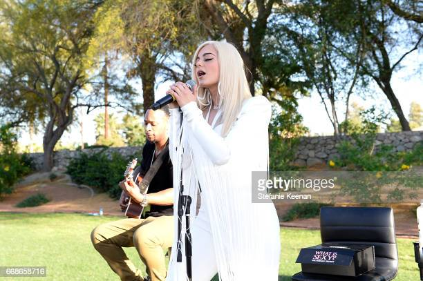 Bebe Rexha attends Victoria's Secret Angels Celebrate the Sexy Little Things Launch at the Angel Oasis on April 14 2017 in Indio California