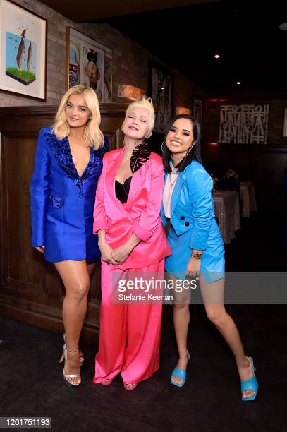 Bebe Rexha Cyndi Lauper and Becky G attend the 3rd Annual Women in Harmony PreGrammy Luncheon with Host Bebe Rexha on January 24 2020 in Los Angeles...