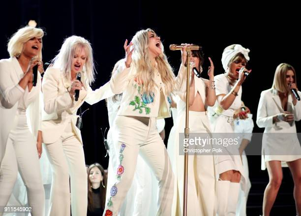 Bebe Rexha Cyndi Lauper Kesha Camila Cabello Andra Day Kesha and Julia Michaels perform onstage during the 60th Annual GRAMMY Awards at Madison...