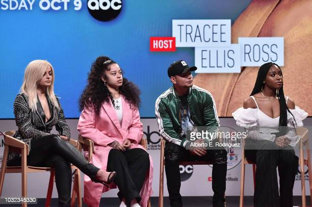 Bebe Rexha Ella Mai Kane Brown and Normani attend the 2018 American Music Awards Nominations Announcement at YouTube Space LA on September 12 2018 in...