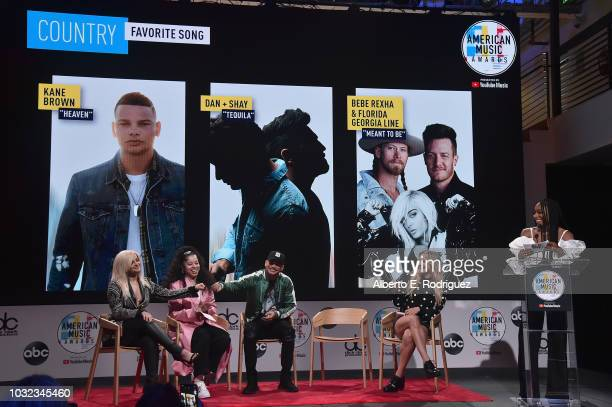 Bebe Rexha Ella Mai Kane Brown Chelsea Briggs and Normani attend the 2018 American Music Awards Nominations Announcement at YouTube Space LA on...