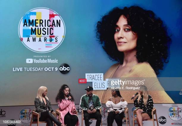 Bebe Rexha Ella Mai Kane Brown Normani and Chelsea Briggs attend the 2018 American Music Awards Nominations Announcement at YouTube Space LA on...