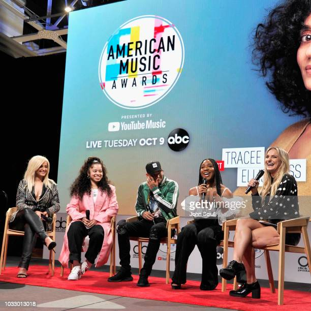 Bebe Rexha Ella Mai Kane Brown Normani and Chelsea Briggs speak onstage during The '2018 American Music Awards' Nominations at YouTube Space LA on...