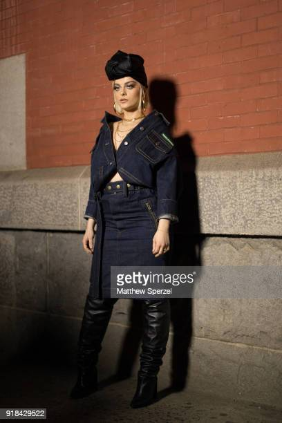 Bebe Rexha is seen on the street attending Marc Jacobs during New York Fashion Week wearing Marc Jacobs on February 14 2018 in New York City