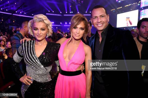 Bebe Rexha Jennifer Lopez and Alex Rodriguez attend the 2018 American Music Awards at Microsoft Theater on October 9 2018 in Los Angeles California