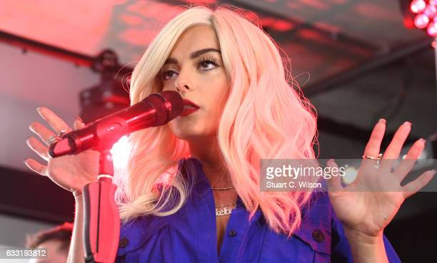 Bebe Rexha performs at MTV's Cover Of The Month Party At The YouTube Space on January 31 2017 in London United Kingdom