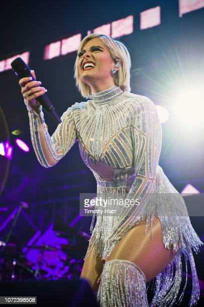 Bebe Rexha performs during 1035 KISS FM's Chicago Jingle Ball 2018 on December 12 2018 in Chicago Illinois