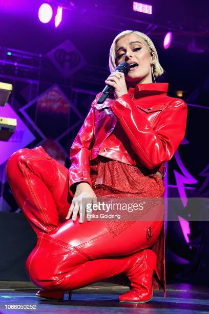 Bebe Rexha performs during 1061 KISS FM's Jingle Ball 2018 at American Airlines Center on November 27 2018 in Dallas Texas
