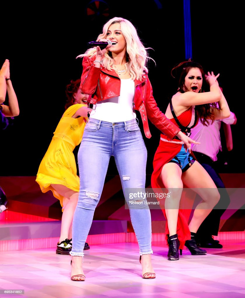 Bebe Rexha performs her hit song 'The Way I Are (Dance with Somebody) to announce Just Dance 2018 during the Ubisoft E3 2017 conference at Orpheum Theatre on June 12, 2017 in Los Angeles, California.