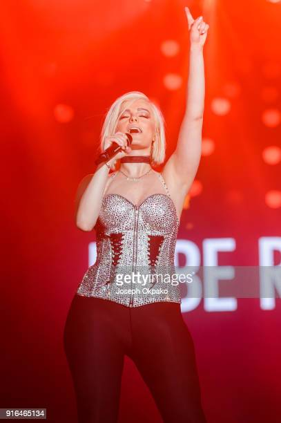 Bebe Rexha performs live on stage during Redfestdxb Festival 2018 on February 9 2018 in Dubai United Arab Emirates