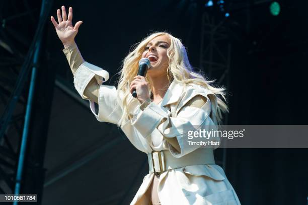 Bebe Rexha performs on day two of Lollapalooza at Grant Park on August 3 2018 in Chicago Illinois