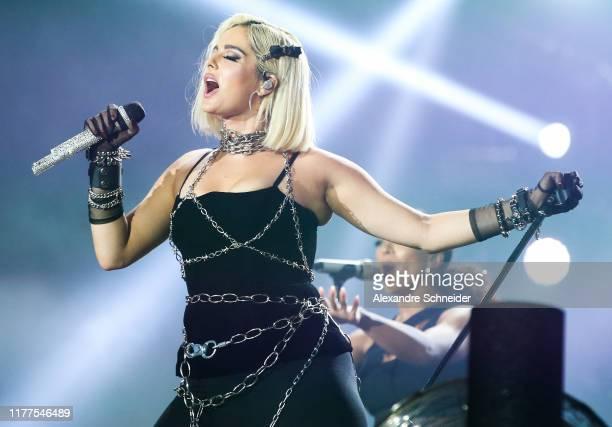 Bebe Rexha performs on stage during Rock in Rio 2019 at Cidade do Rock on September 27, 2019 in Rio de Janeiro, Brazil.